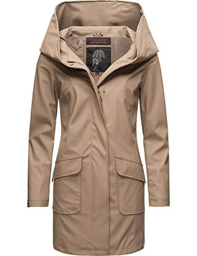 Navahoo Damen Regen Jacke lang Regenmantel Kurzmantel Outdoor Mantel Parka wasserdicht mit Kapuze Delishaa Taupe Gr. XS