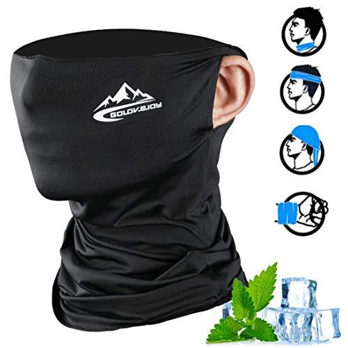 O-Kinee Multifunktionstuch, Elastiche Halstuch Atmungsaktiv, Dünn Sonnenschutz UPF 50+, kühlendes Maske, Nahtlose Weich & Winddicht (Schwarz)