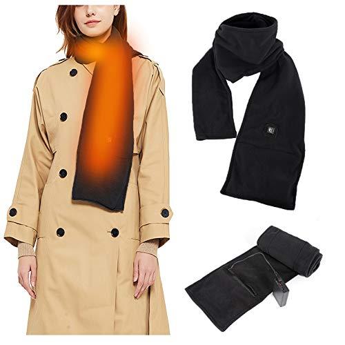 Dyna-Living USB-beheizter Schal für Damen und Herren, weiches Polar-Fleece, 3 Stufen einstellbare Temperatur, Unisex warmer Halstuch, perfekt für Winter Indoor Outdoor Aktivitäten, (schwarz)