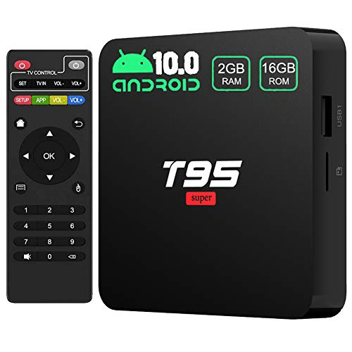 Android TV Box,T95 Super Android 10.0 TV Box 2GB RAM 16GB ROM Allwinner H3 Quad-Core Support 3D/4K/TF Card/H.265/USB 2.0/2.4G WiFi Android Box [2020 Newest] Media Players Streaming