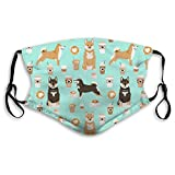 Shiba Inu Coffee Print Dog and Coffees Outdoor Breathable Comfortable Adjustable Face Scarf Decorations-Mask for Adult Womens Mens