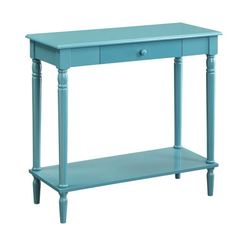 Convenience Concepts French Country Hall Table with Drawer and Shelf, Blue