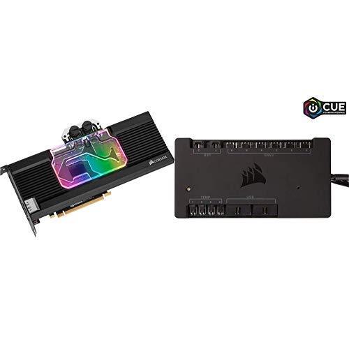 Corsair Hydro X Series XG7 RGB 20-Series GPU-Wasserkühler (für NVIDIA GeForce 2080 Ti Founders Edition, Aluminium Backplate) schwarz + Commander PRO digitaler Lüfter- und RGB Beleuchtung-Controller