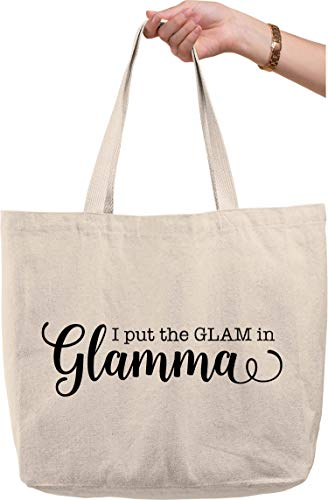 I put the glam in glamma funny family grandma cursive Natural Canvas Tote Bag funny gift