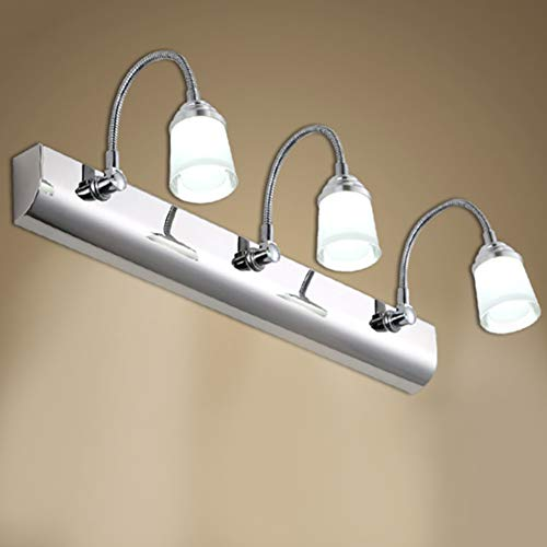 TopDeng zwanenhals LED-spiegellamp, 3 W, moderne wandlamp van roestvrij staal, flexibele slang, wandlamp voor badkamer, slaapkamer, plafond