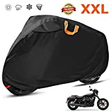 Motorcycle Cover Waterproof Outdoor 210D Oxford Heavy Duty, Night Reflective, Windshield Liner, Vents, Lock Holes, Taped Seams for 104 Inches Motorcycles like Honda, Yamaha, Suzuki, Harley and More