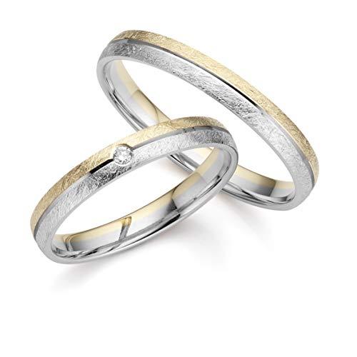 ***AKTIONSPREIS*** 123traumringe 2x Trauringe/Eheringe Gelbgold/Weißgold 333 in Juwelier-Qualität (Gravur/Ringmaßband/Etui/ohne Stein)