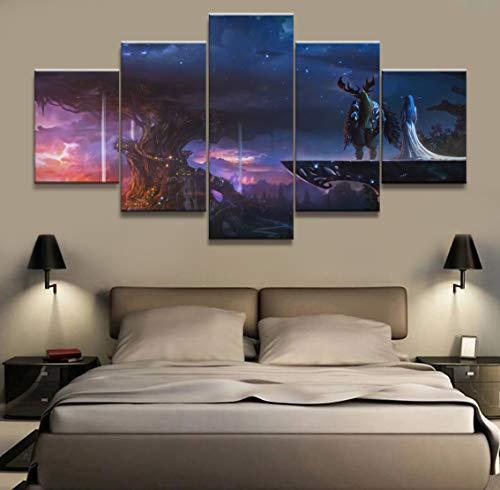 BOYH Cuadro en Lienzo HD de 5 Piezas del Videojuego Wow Warcraft Pintura Cartel Decorativo Mural Art Room decoración de la Pared Lienzo,B,20×35×2+20×45×2+20×55×1