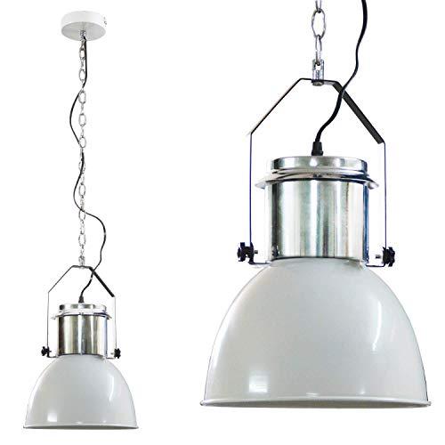 DRULINE Industrielle Hängeleuchte Vintage Esszimmer Lampe Hängelampe Metall Weiß (Pendellampe, Küchenlampe,42x26 cm)