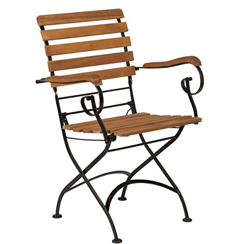 Butlers PARKLIFE Klappstuhl mit Armlehne - schwarz-naturfarbiger Stuhl aus Akazienholz - für Garten oder Balkon