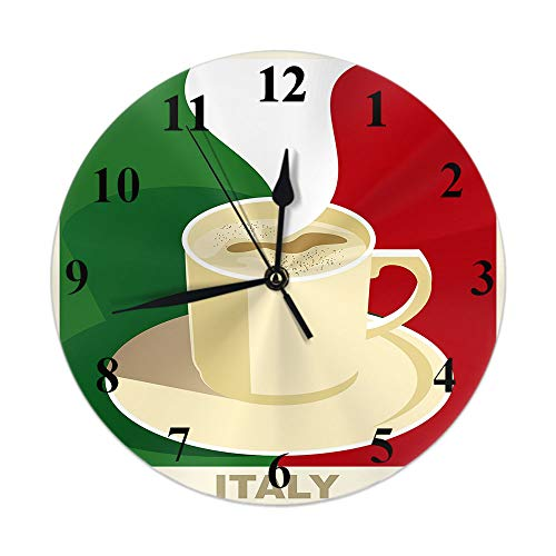 Moslion Coffee Clock Italy Espresso Cappuccino with Italian Flag Round Wall Clock Silent Non Ticking Rustic Home Decor 10 Inch for Kitchen Bathroom Office Green Red Beige
