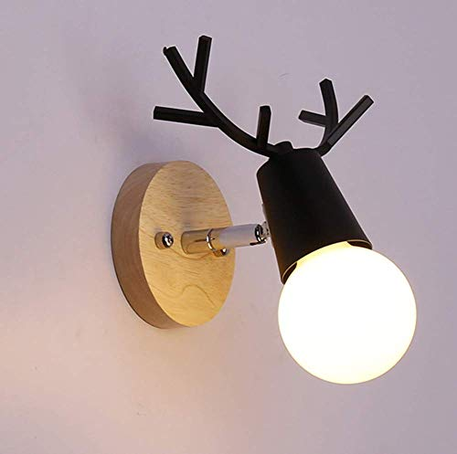 Nordic metalen houten wandlamp Little Antlers decoratie LED slaapkamer nachtkastje leeslamp kinderkamer nachtlampje C-wit