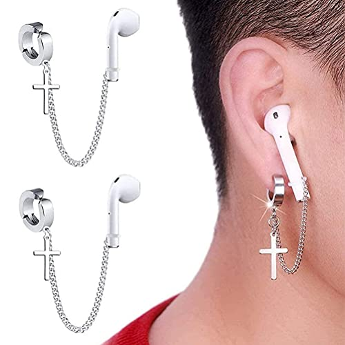 1 Pair (NO Need Ear Hole) Creative Cross Earring Strap,Anti Lost Earring Strap for Airpods,Wireless Earhooks Earbuds Earphone Holder, Compatible with Airpods 2&1 3/Pro