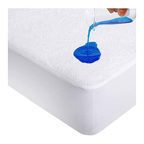 CAROLINE SHATUIK Waterproof Mattress Protector king Size Extra Deep Fitted Terry Towel mattress protector Topper Cover Non Noisy Breathable Poly Cotton Surface (King 152 x 200+ 40cm)