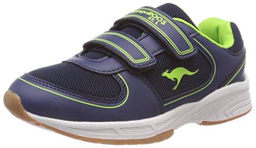 KangaROOS Sinu V Unisex-Kinder Sneaker, Blau (Dark Navy/Lime 4054), 33 EU