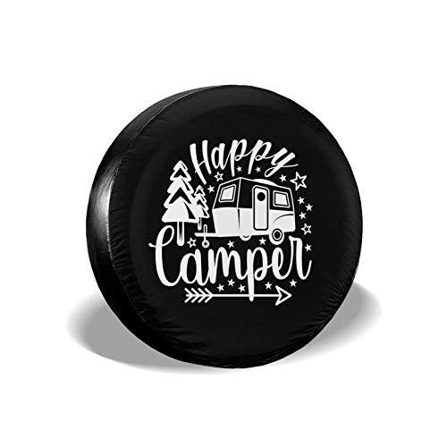 Yaxinduobao Happy Camper - Cubierta para neumático de Repuesto, Impermeable, a Prueba de Polvo, UV, para Rueda de Sol, Cubierta de neumático de 17 Pulgadas