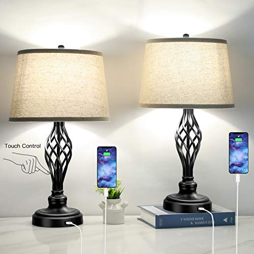 Set of 2 Touch Control 3-Way Dimmable Table Lamp Nightstand Lamp with USB Port AC Outlet Bedside...