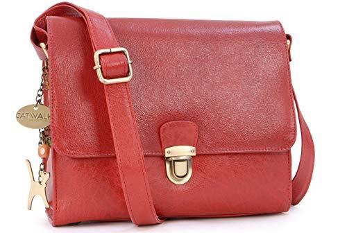 Catwalk Collection Handbags - Vintage Leder - Umhängetasche/Schultertasche - Passend für iPad und Tablet - DIANA - Rot