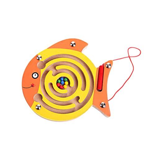 NUOBESTY Magnet Perle Labyrinth Puzzle AFFE Fisch Magnet Holz Labyrinth Spiel Spielzeug Lernspielzeug für Kinder Kleinkinder