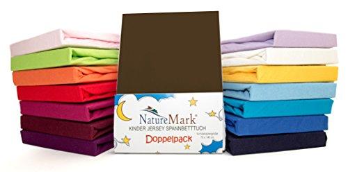 2Pack de ahorro Niños–Sábana bajera ajustable 100% algodón para cama infantil colchones Certificado Oeko-Tex, en muchos colores, tela, Schokobraun / Dunkelbraun, 70 x 140 cm