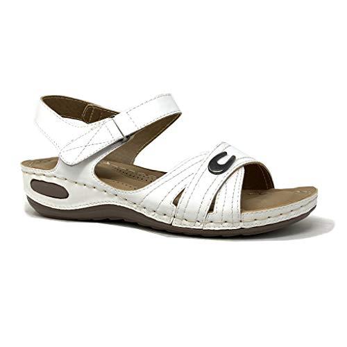 Angkorly - Damen Schuhe Sandalen - orthopädischer Stil - Senior - Bequeme - gekreuzte Riemen - Fertig Steppnähte Keilabsatz 3 cm - Weiß 4 D-79 T 38