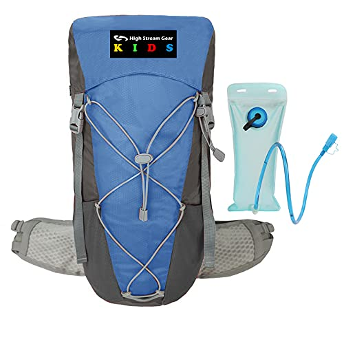 Backpack for Kids – 20L Hiking rucksack with 2L Water Hydration Bag – Steel internal frame Back Support for Boys and Girls – Ultralight and Compact – Rain Cover Included (Blue)