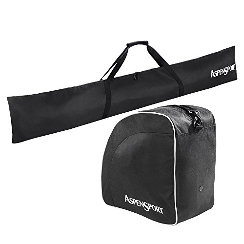 AspenSport Skitaschen Set, Zaino Unisex-Adulto, Nero, 43 x 27 x 5 cm, 50 Liter
