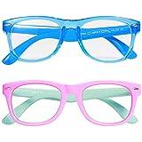 Kids Blue Light Blocking Glasses 2 Pack, UV Protection, Anti Eyestrain, Anti Glare Lens, Computer Gaming TV Phone Glasses for Boys Girls Age 3-9 (TransparentBlue & PinkGreen)
