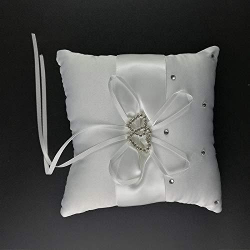 Coussins de Chaise Coussin d'anneau de Mariage pour la décoration de Mariage 20 x 20cm Double Coeur Strass Decor Coussin de mariée en Satin avec Rubans (Color : 190x 190mm)