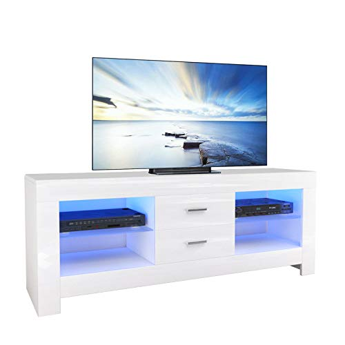 Dripex TV Board Lowboard Fernsehtisch mit LED Beleuchtung Weiß Hochglanz mit Schubladen, 130x50x35 cm