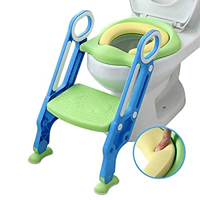Potty Training Seat with Step Stool Ladder and Handles for Baby Toddler Kid Children Boys and Girls Toilet Training Chair with Padded Soft Cushion and Non-Slip Wide Step (Green Blue PU)
