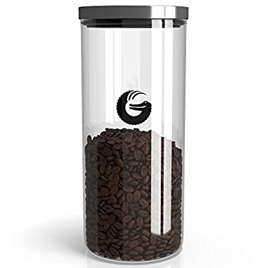 Coffee Gator Glass Storage Container – Display Jar for Beans and Grounds with 'Pop and Lock' Lid – 45 Ounce, 35 Nespresso Pods