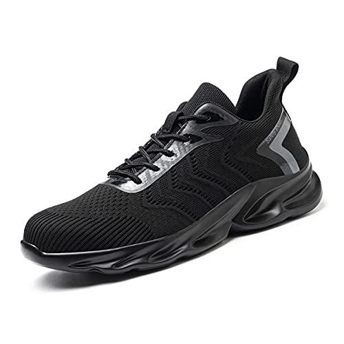 Aingrirn Zapatos de Seguridad Hombre Mujer Ligeras Zapatos de Trabajo Punta de Acero Deportivo Calzado de Construcción (Color : Black Middle Top, Size : 38 EU)