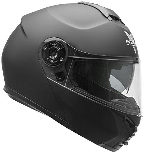 Vega Helmets VR1 Modular Motorcycle Helmet with Sunshield - DOT Certified Half to Full Face Flip Up Motorbike Helmet for Cruisers Scooter Touring Moped, Bluetooth Compat (Matte Black, Medium)