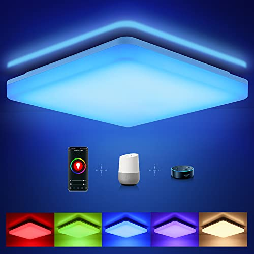 Oeegoo Alexa Smart LED Deckenleuchte, 15W 1500LM Wifi LED Deckenlampe Dimmbar, RGB Farbwechsel IP54 Lampe für Kinderzimmer, Wohnzimmer, Schlafzimmer, Kompatibel mit Alexa Google Home, 2700-6500K