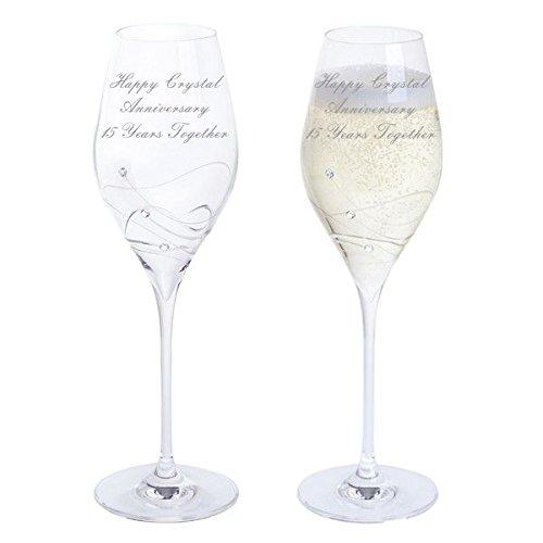 Cristal anniversaire Dartington Glitz Paire de verres à vin blanc Décor avec cristaux – 15 ans Ensemble