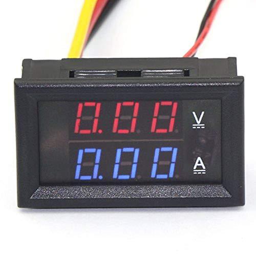 DC 0-100V Spannungsmesser Spannungsamperemeter LED Volt Amp Panel Ampere Voltmeter Strommesser DC 10A 50A 100A mit Shunt Voltmeter Amperemeter 4.5-30V Strom Monitor für Auto Electrombile (10A Rot-Rot)