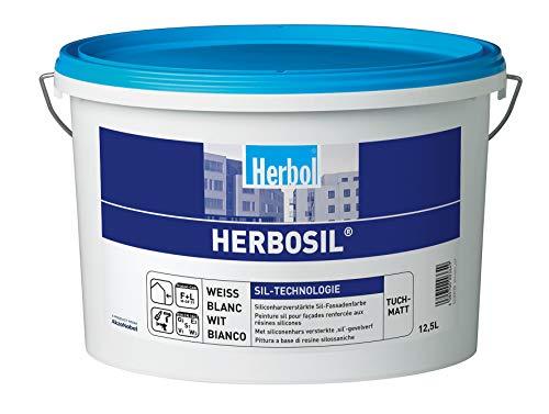 Herbol Herbosil Sil-Technologie Siliconharzverstärkte Sil-Fassadenfarbe Tuchmatt Weiß 5Liter