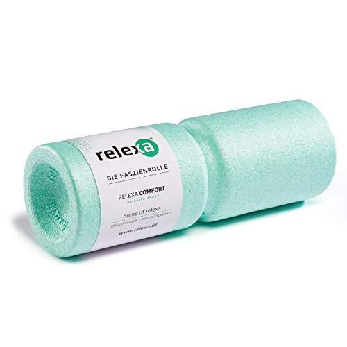 relexa Comfort Faszienrolle, Massagegerät mit Umlaufrille für die Wirbelsäule, Ganzkörper-Selbstmassage für Verspannungen, inkl. Faszien-eBook, 38 x 13 cm (L x Ø) in Türkis