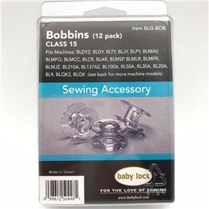 12 Pack Genuine BabyLock Bobbins(Class 15) # BLG-BOB With Plastic Storage Case