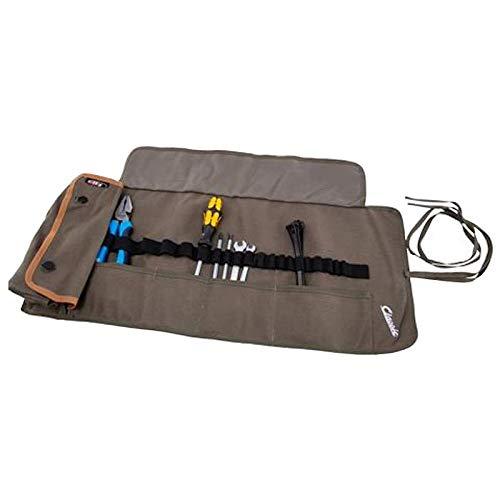 Set attrezzi Vespa viaggio piccole riparazioni garage manutenzione fai da te pinza nastro cacciavite cavi fascette chiave candela borsa sacca in tessuto (Olive)
