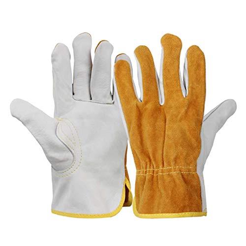 yotijar 1 par de guantes de soldadura cuero de vaca protege las manos de soldador ignífugo Anti-calor para soldar herramientas manuales de Metal