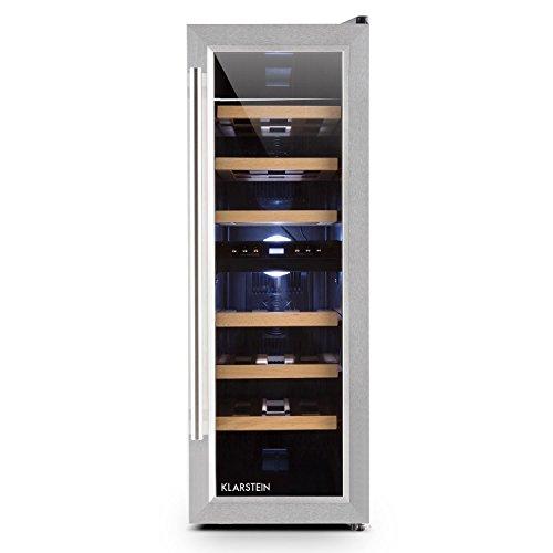 Klarstein Reserva Duett 12 - Nevera para vinos, Nevera para bebidas, 65 Litros, 21 Botellas, 2 Zonas de frío, 6 estantes de madera, Iluminación LED, Módulo independiente, Negro-plateado