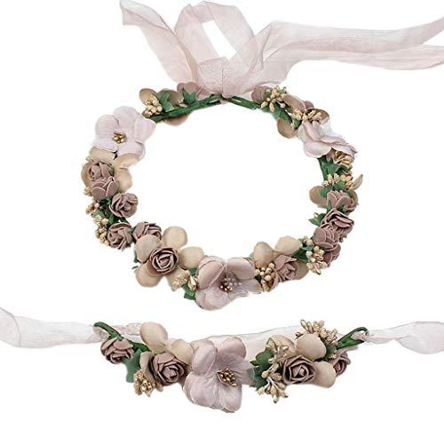 WDFVGEE - Juego de pulseras de corona de flores artificiales para mujer, color caramelo