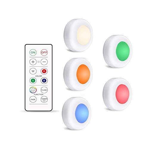 Nachtlicht 16 Farben Unter Schrankleuchten Dimmbare Led-Puck-Nachtlichter Tragbare Schrank-Küchenschranklampen Mit Fernbedienung Und Touch-Steuerung 1Controller5Lamp
