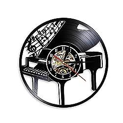VJIEBF Musical Instrument Piano Wall Clock Musical Notes Melody Grand Piano Sheet Music Vinyl Record Wall Clock Pianist Musicians