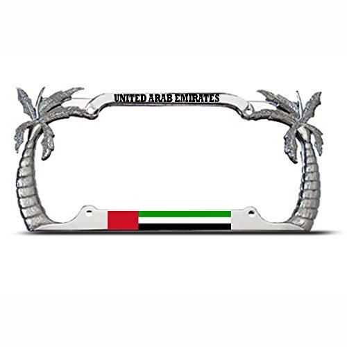 Mond United Arabische Flagge Palme Kennzeichenrahmen arabischer Pride Tag Bordüre Perfekt für Männer Frauen Auto Garadge Dekor