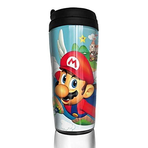 Super Mario - Taza de café con tapa para 350 ml (base de taza engrosada, antideslizante)