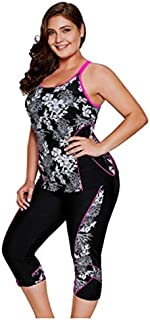 BEESCLOVER Carved Flowery Print Swimsuit Black Tankini and Capris Set High Elasticity Beach Swimwear Plus Black L