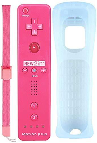 Tanouve Mando para Wii/Wii U,2 en 1 Mando con Motion Plus Mando a Distancia Inalámbrico Control Remoto con Correa de Pulsera Incorporado Acelerador para NintendoWii/Wii U(Rosa)